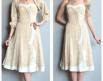 1950s Dress // Starry Eyed Lace & Cotton Dress // vintage 50s dress