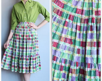 1950s Skirt // Colorful Plaid Circle Skirt // vintage 50s skirt