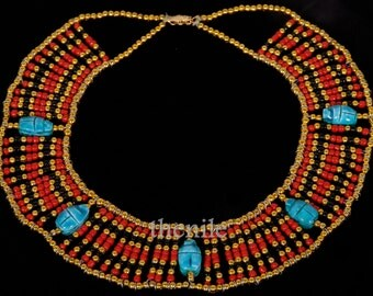 Egyptian  bedead  Queen Cleopatra Necklace 5 Scarab Mega Sale