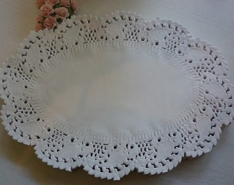 """25/50/100 Oval Paper Lace Doilies 9"""" (230mm) ~ *favours*wedding*baby shower*high tea*"""