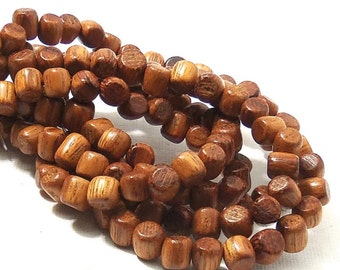 Bayong Wood Tiny Drum, Side Drilled, 6mm - 7mm, Cylinder, Tube, Shape, Wood Spacer Bead, Natural Wood Beads, Small, 8 Inch Strand - ID 2178