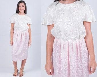 Vintage 1980s White Pink Satin Rose Brocade Rosette Embellished Wiggle Dress * Versatile Fit Small Medium Large * FREE SHIPPING