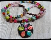 Bright Colorful Necklace Pinwheel Pendant