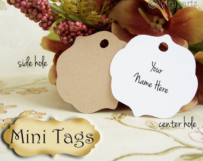 30 MINI TAGS #10 • 1.5 X 1.5 inch•Necklace Tags•Bracelet Tags•Price Tags•Clothing Tags•Favor Tags•
