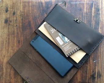 Radio Portfolio / Leather iPad Case / iPad Mini Case / Leather Portfolio / Leather Clutch Case / iPad mini Sleeve / Hand stitched / Gift