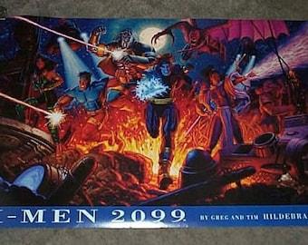 "Rare vintage original 1994 X-Men 34 by 22 Marvel Comics Universe comic book superheroes poster pin-up:1990's ""XMen 2099"" Marvel Press poster"