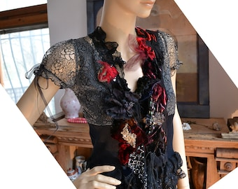 Reserved for NADIA last Payment Unique Lovely Elegant Lacy  Jacket With Silk Velvet Dep Forest BLACK ROSEs  Fairy Gothic Gipsy  Tattered