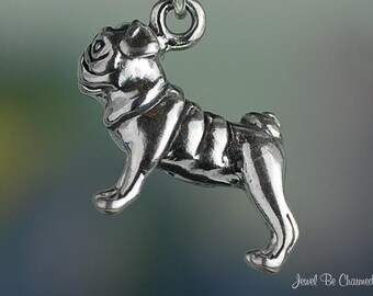 Sterling Silver Pug Charm Dog Breed Purebred Pugs 3D Solid .925