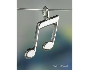 Sterling Silver Music Note CHARM or PENDANT Eighth Notes Musician .925
