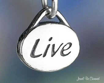 Sterling Silver Live Charm Oval Word Inspirational Small Solid .925