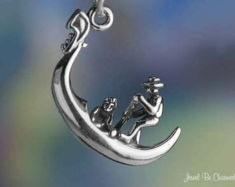 Gondola Charm Sterling Silver Gondolier Venice Italy 3D Solid .925