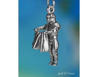 Sterling Silver Bullfighter Matador Charm Bull Fighting 3D Solid .925