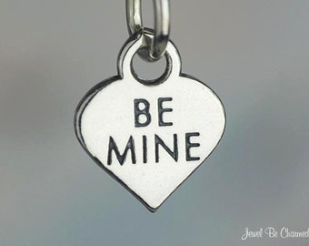 Sterling Silver Be Mine Candy Heart Charm Wedding Valentine Tiny .925