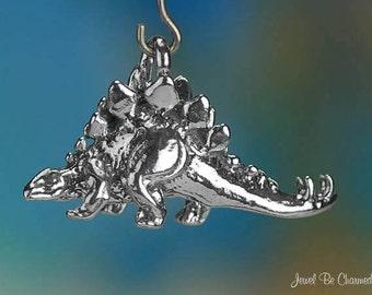 Stegosaurus CHARM or PENDANT Sterling Silver Dinosaur 3D Solid .925