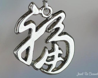 Sterling Silver Chinese Good Luck Symbol Charm Lucky Charms Solid .925