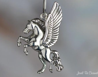 Sterling Silver Pegasus Charm Rearing Flying Winged Horse Solid .925
