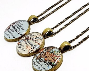 CUSTOM Vintage Map Necklace. You Select Location. Anywhere In The World. One Necklace. Map Pendant.Jewelry. Personalized. Gifts For Women.