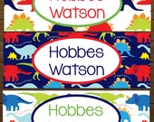 Personalized Waterproof Labels Waterproof Stickers Name Label Dishwasher Safe Daycare Label School Label - Din-O-mite, 30 piece set