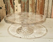 Vintage Pedestal Cake Stand/Glass Crystal Cake Stand/Dessert Stand