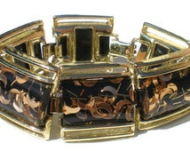 """Confetti Lucite Bracelet with Black and Crescent Copper Moons on Gold Tone 7"""" Inches - Vintage Jewelry"""