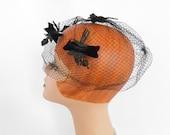 Vintage whimsy hat, 1960s black veil netting