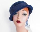 Vintage bowler hat, blue tilt 1950s 60s, Kutz