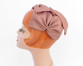 1950s vintage hat, mauve halfhat