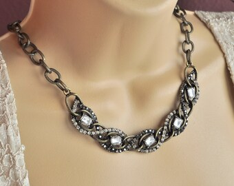 Brushed Copper an Crystal encrusted Collar Necklace and Earring Set
