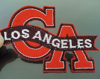 Los Angeles Letter Patches - Iron on or Sewing on Patch USA Country CA Letter Patches Red Black Patch Large Embellishments Embroidery fonts