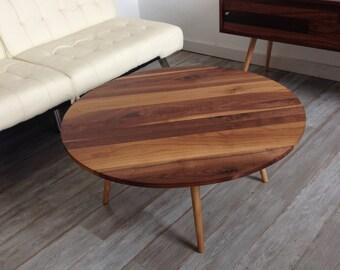 Mid Century Round Walnut Cocktail Coffee Table