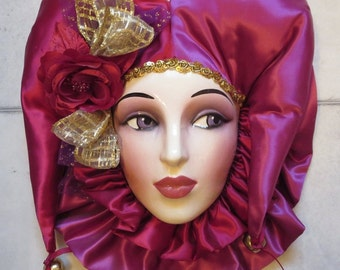 Clay Art Ceramic Face Wall Mask, Scarlet Jester Musical Decorative Wall Hanging