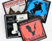 Halloween Coaster Set, Classic Victorian Gothic Horror Novel, Wood Coasters, Halloween Decor, Party Favor, Hostess Gift, Dracula, Set of 4