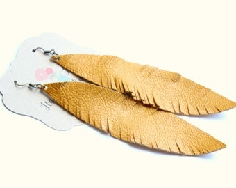 Large Mustard Feather Earrings