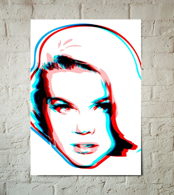 Mad Men style, mid century modern decor, Pop Art of a sexy, girl in Red, White, Blue, Poster size Art Print available in multiple sizes.