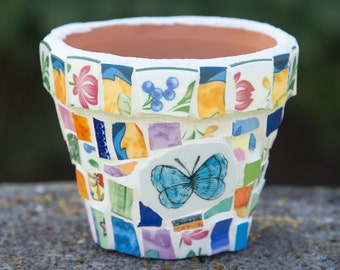 """Mosaic Flower Pot with Butterfly and mixed China Pieces  5""""x4"""" One of a Kind Mothers Day Planter READY TO SHIP"""