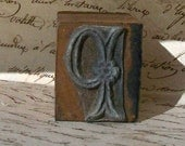 Antique French Dowry Trousseau Stamp Initial P Monogram Alphabet Stamp Letter Pattern