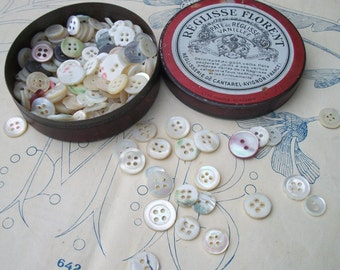 Antique vintage French Bonbon Sweet Tin filled with Pearl Buttons