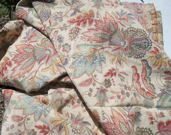 Antique Vintage French 1940's Woven Paisley Fabric Arabesque material Golds Ivory Blush Apricot