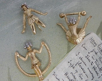 Set of 3 TRIFARI Gold Gymnastic Girl Scarf Pins