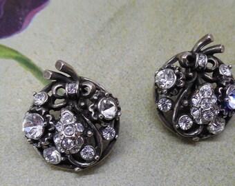 Pr. Signed HOLLYCRAFT Rhinestone Clip On Earrings