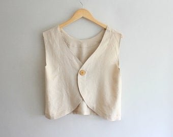 Handmade Crinkle Linen Smock Top - Choose your color