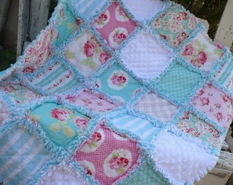 Baby Girl Rag Crib Quilt -Coastal Chic Shabby Beach Cottage Roses in Pink and Aqua Blue Ready to Ship