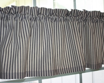 "Valance Blue and Ivory Striped Timeless Ticking Fabric with lining 54""x13"""