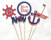 READY TO SHiP Red & Navy Nautical Centerpiece Sailing Ahoy  It's A Boy  Baby Shower Decoration Up To 4 SETs AVAiLABLE for SAME SHiPPING
