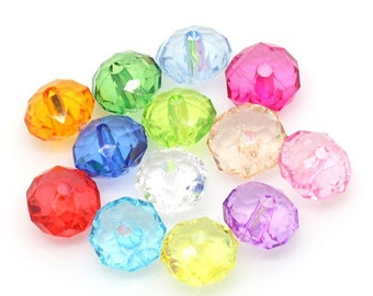 100pcs Rondelle Faceted Round Flat Acrylic Beads - 12mm - Assortment