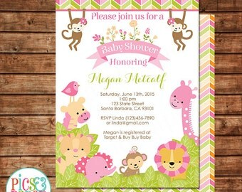 Safari Baby Shower Invitation for Girl in Pink, Safari Animals Baby Shower Invite, Jungle Themed Baby Shower- Printed or Digital