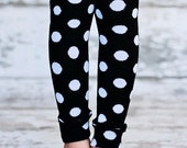 ON SALE Leg Warmers - White Polka Dots on Black
