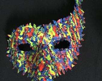 Neon Graffiti Layered Paper Traditional Shaped Venice Carnival Masquerade Mask