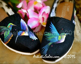 Hummingbird Themed Custom TOMS Shoes
