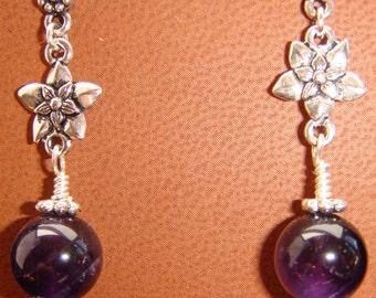 Sterling Silver and Amethyst Pierced Earrings